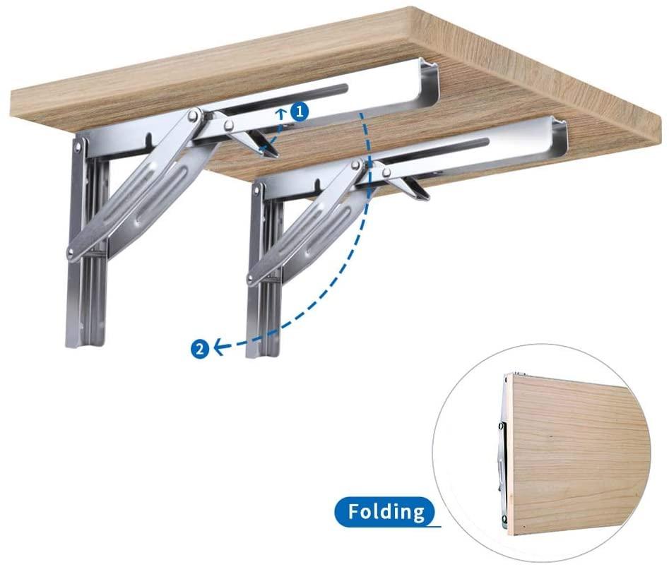 2 Pieces Folding Heavy Duty Shelf-Bracket Bench Table Folding Shelf or Bracket Max. Load 550lbs